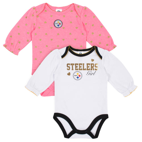 Pittsburgh Steelers Baby Girl Long Sleeve Bodysuits