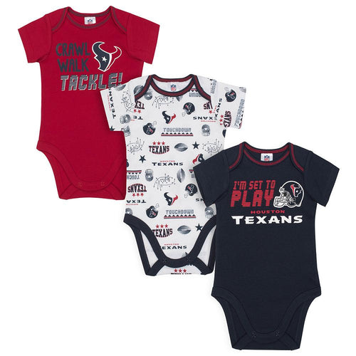 Texans All Set To Play 3 Pack Onesies Bodysuits