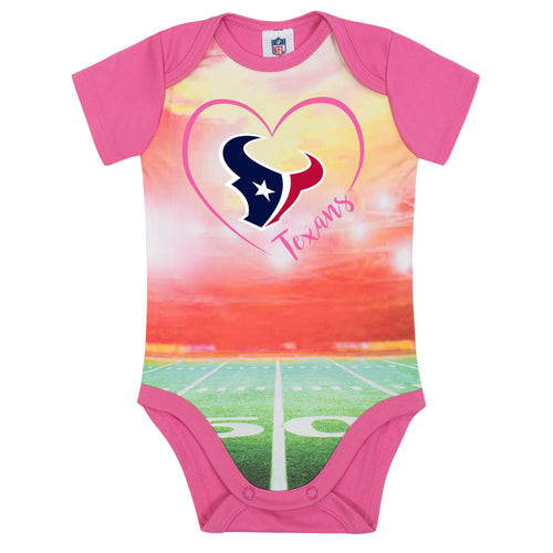 Texans Infant Girl Pink Field Bodysuit