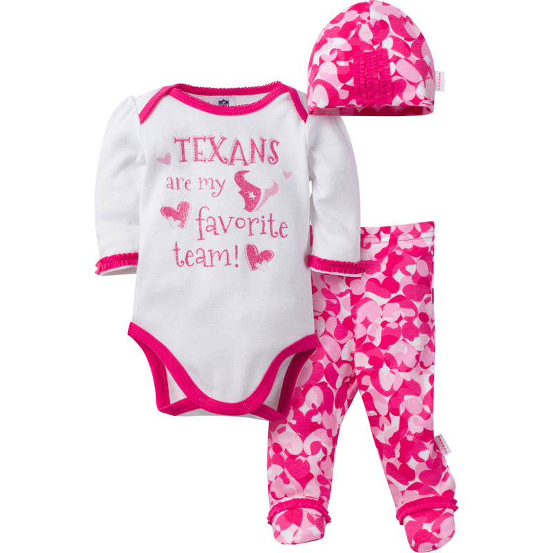Texans Baby Girl 3 Piece Outfit