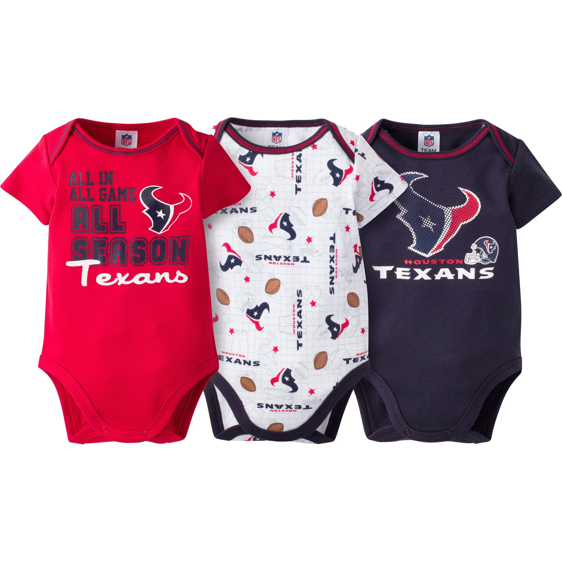 Texans Infant 3-Pack Logo Onesies – babyfans 8d581c450