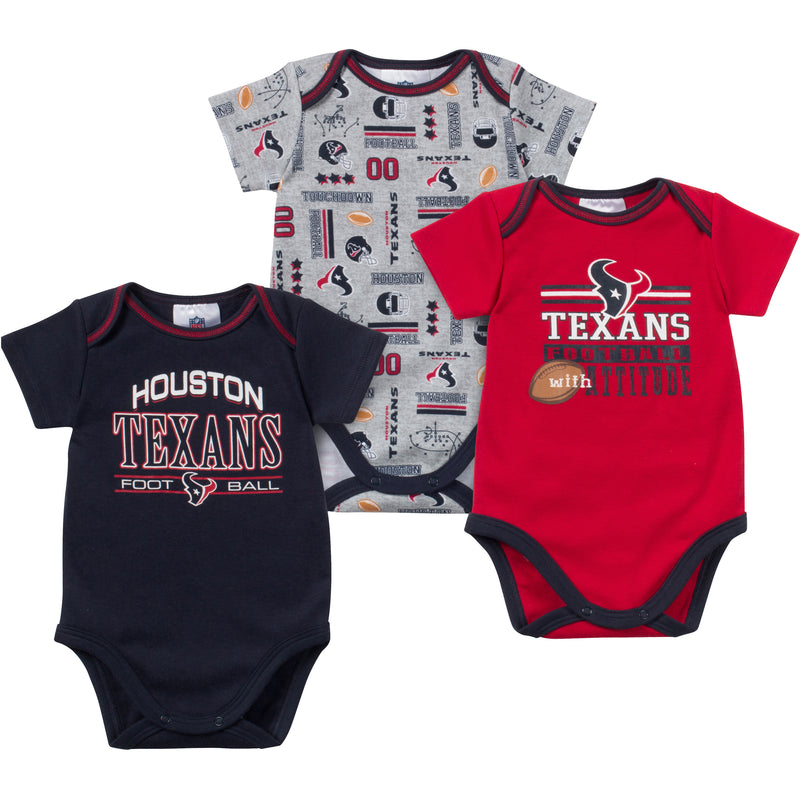 Baby Texans Fan Onesie 3 Pack