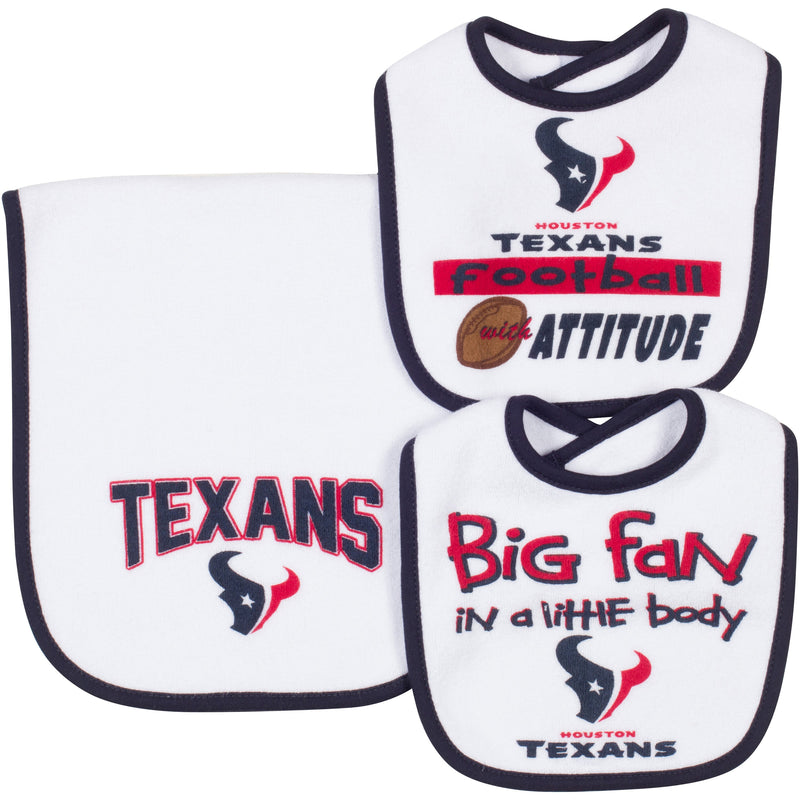 "Texans ""Big Fan In a Little Body"" Bib and Burp Set"