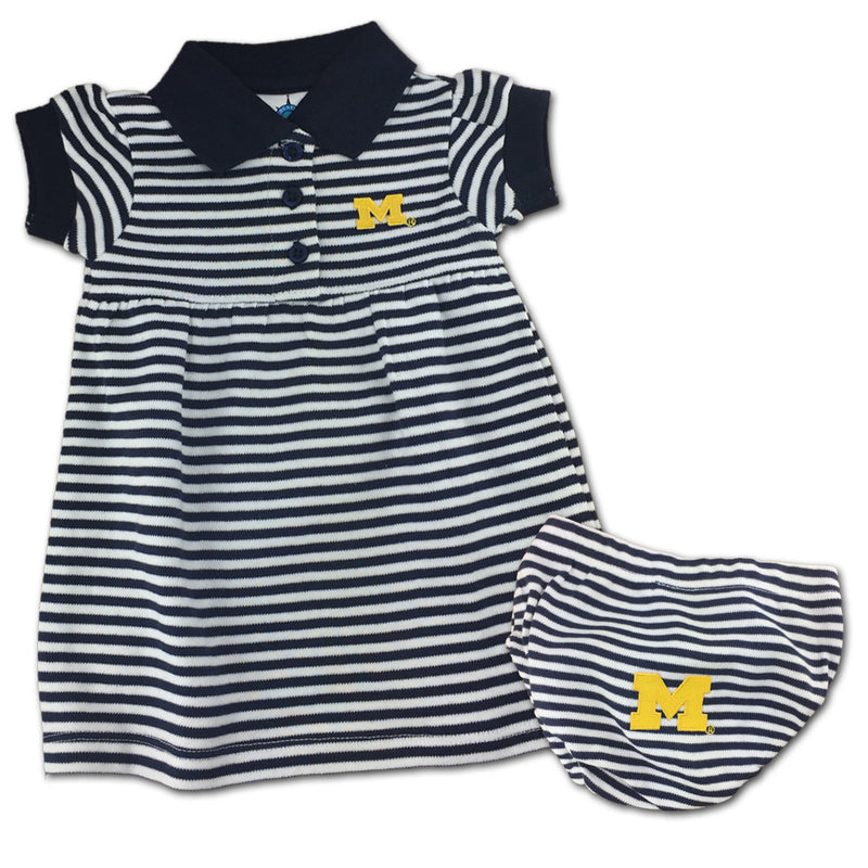 Michigan Striped Polo Dress with Bloomers