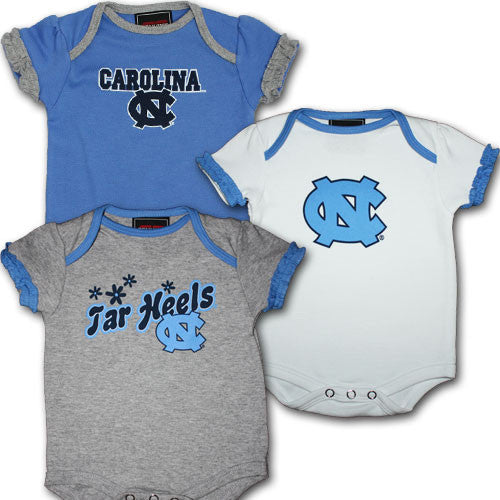 Tar Heels Baby Girl Body Suits (3-Pack)
