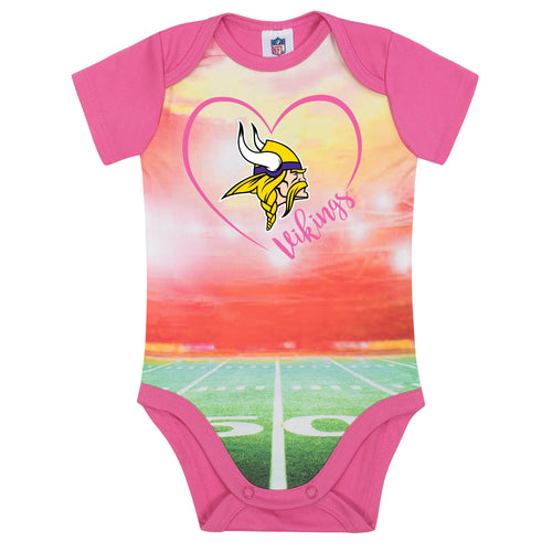 Vikings Infant Girl Pink Field Bodysuit