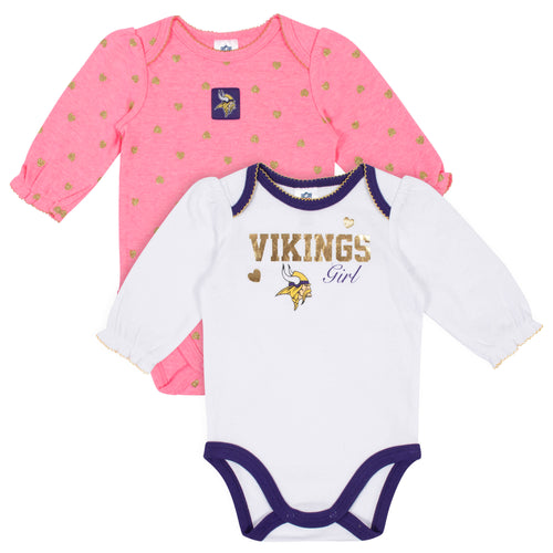 Minnesota Vikings Baby Girl Long Sleeve Bodysuits