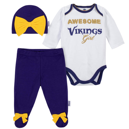 Awesome Vikings Baby Girl Bodysuit, Footed Pant & Cap Set