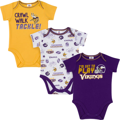 Vikings All Set To Play 3 Pack Short Sleeved Onesies Bodysuits
