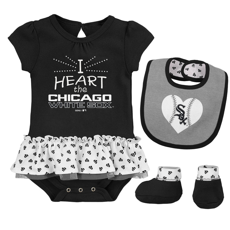 Baby Girl I Heart The White Sox Skirted Bodysuit Set