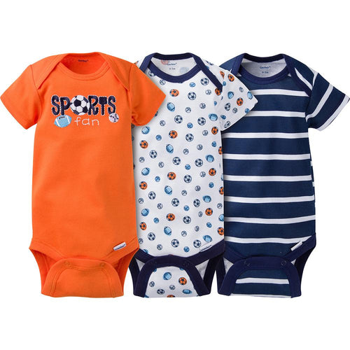3-pack Boys Sports Onesies® Brand Short Sleeve Bodysuits