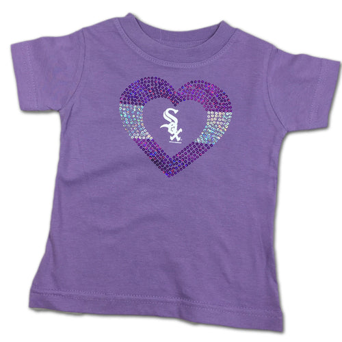 Sparkly Heart Lavender White Sox Tee