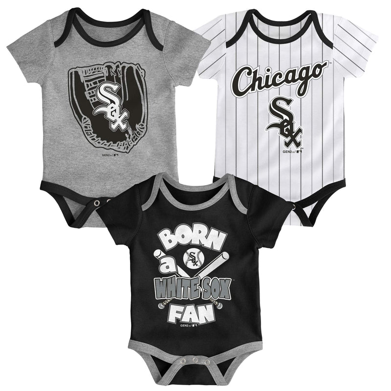 White Sox Baseball Fan 3 Pack Bodysuit Set