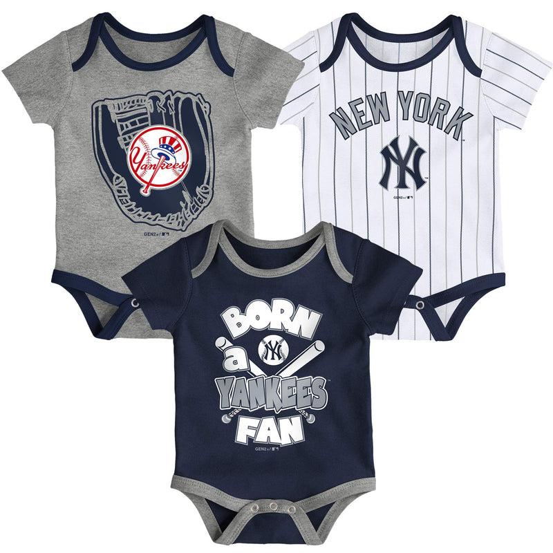 Yankees Baseball Fan 3 Pack Bodysuit Set
