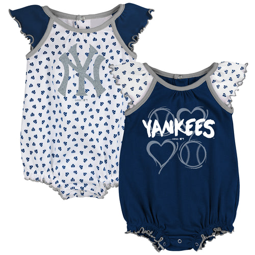 Yankees Baby Girl Hearts Duo Bodysuit Set