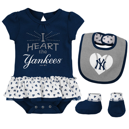 Baby Girl  I Heart The Yankees Skirted Bodysuit Set