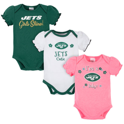 Jets Girls Shine 3-Pack Short Sleeve Bodysuits