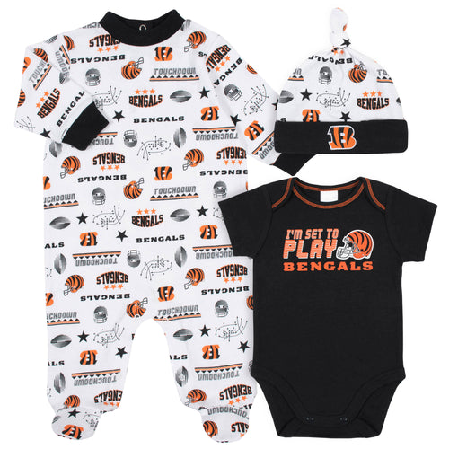 Bengals Baby Boys 3-Piece Bodysuit, Sleep 'N Play, and Cap Set
