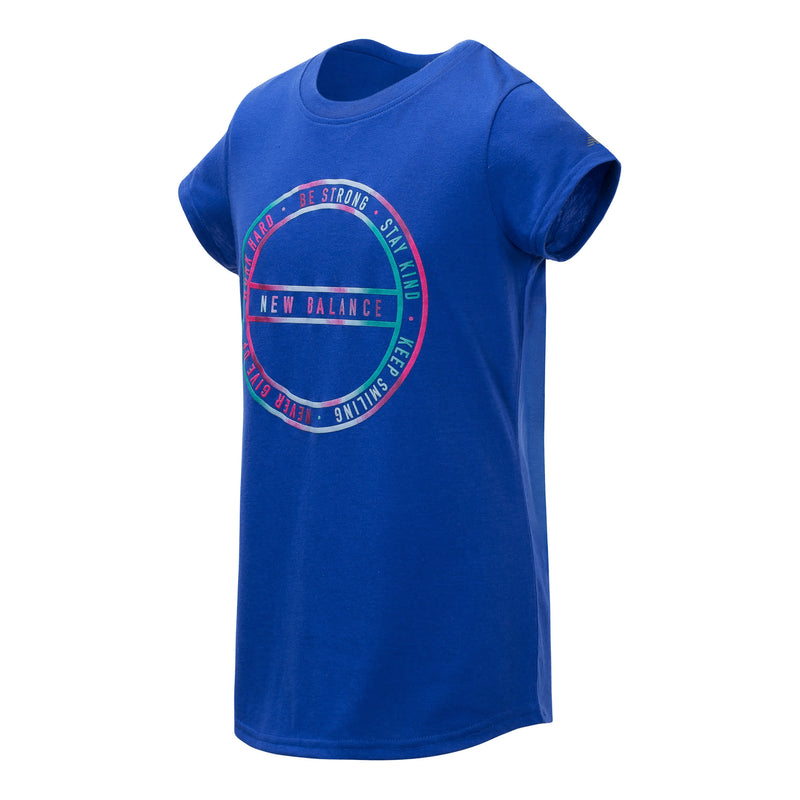 New Balance Girls Uv Blue Short Sleeve Graphic Tee