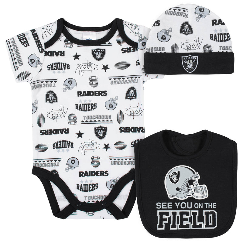 Raiders Baby Boys 3-Piece Bodysuit, Bib, and Cap Set