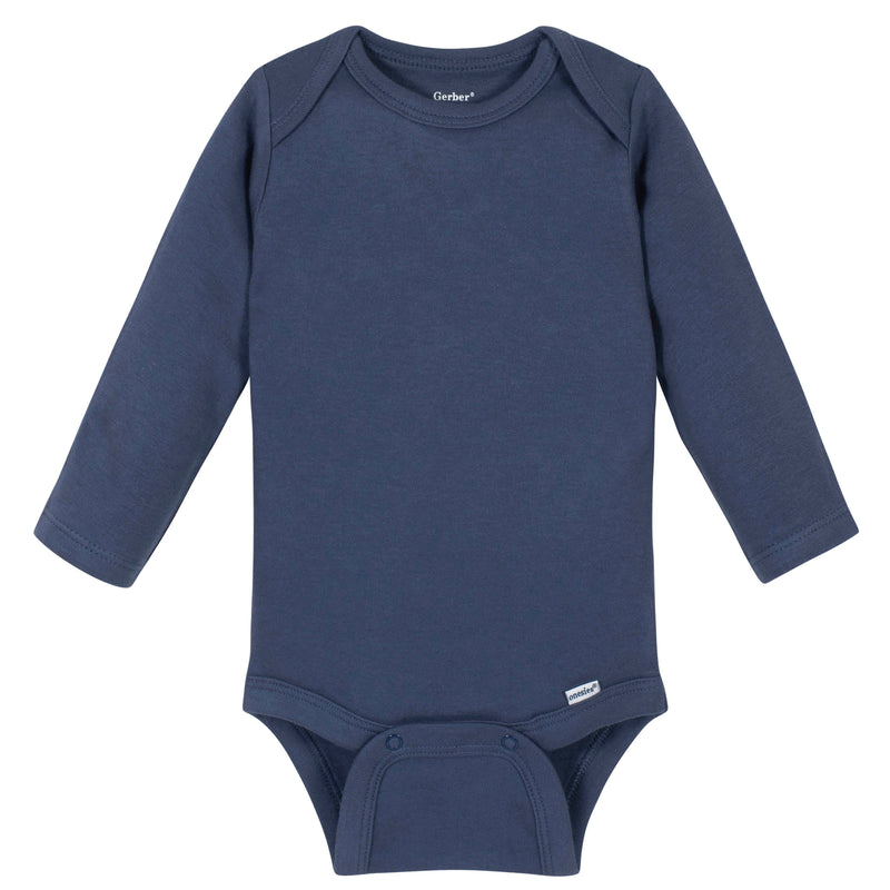 Boys Navy Classic Long Sleeve Onesies® Brand Bodysuit