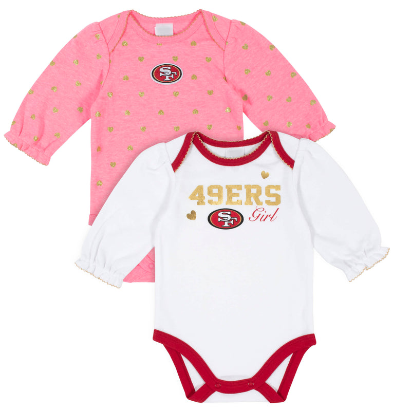 49ers Baby Girls 2-Pack Long Sleeve Bodysuits