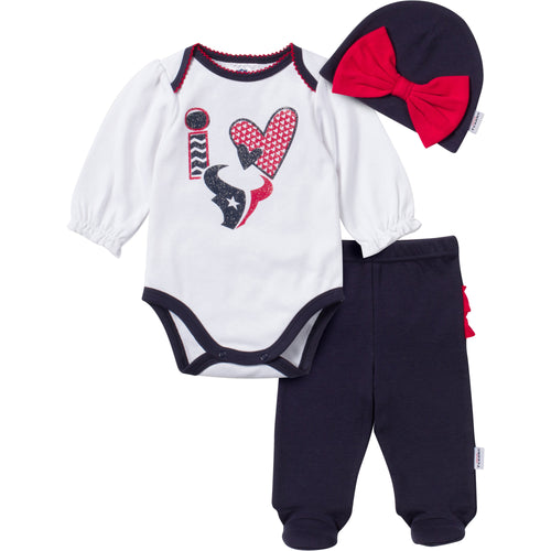 I Love the Texans Baby Girl Outfit