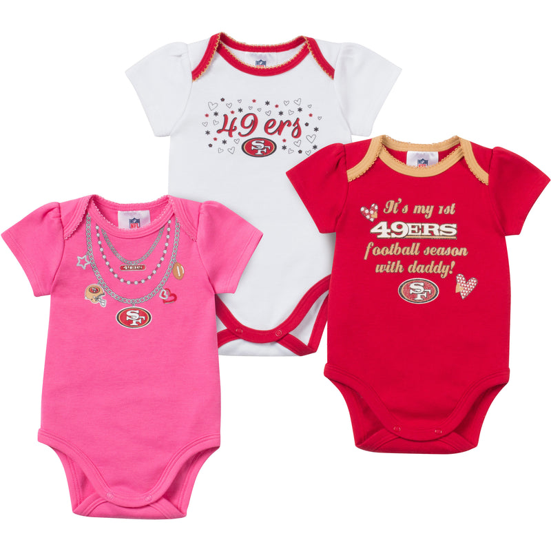 Baby 49ers Girl Onesie 3 Pack
