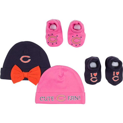Bears Baby Girl Caps & Booties Set