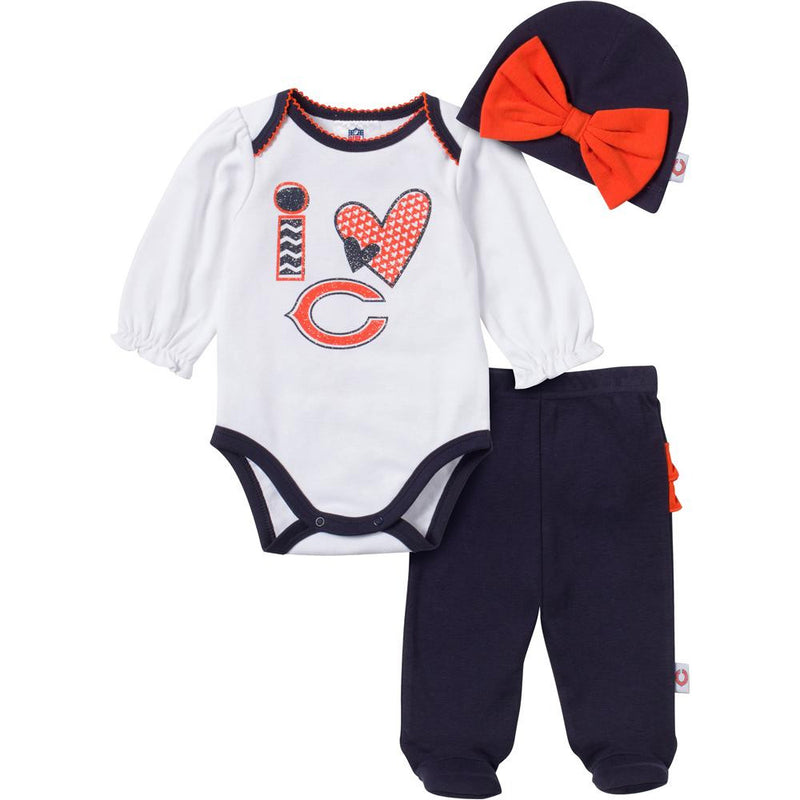 I Love the Bears Baby Girl Outfit