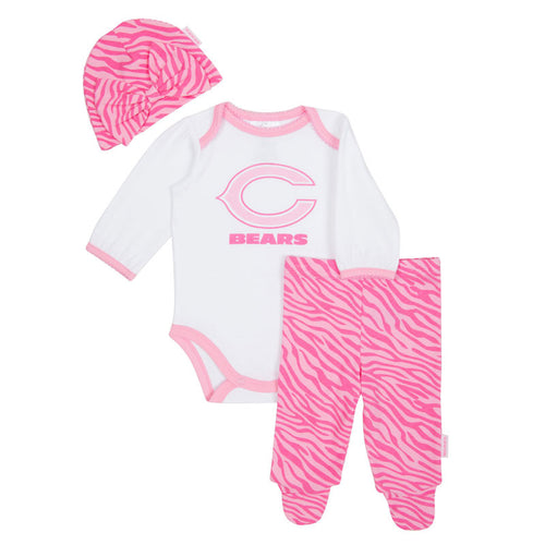 Bears Baby Pink Onesie, Footed Pant & Cap