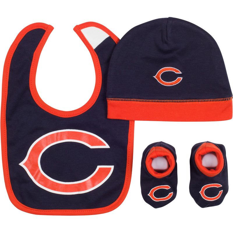 Baby Bears Fan Cap, Bib and Booties