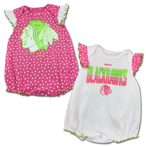 Blackhawks Pink Polka Dot Creeper Set