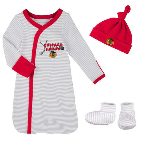 32e953dbe43 Blackhawks Newborn Gown, Cap, and Booties