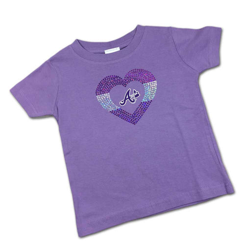 Sparkly Heart Lavender Braves Tee