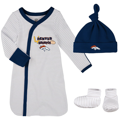 Broncos Newborn Gown, Cap, and Booties
