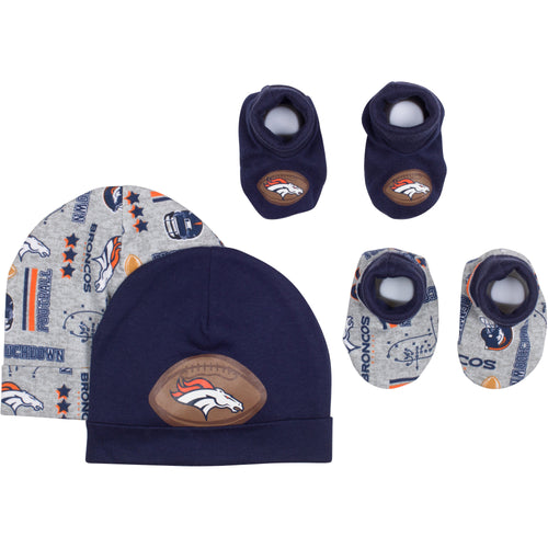 Baby Broncos Fan Caps & Booties Set