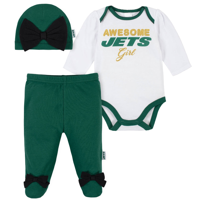 Awesome Jets Baby Girl Bodysuit, Footed Pant & Cap Set