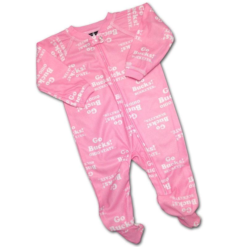 Baby Buckeye Pink Logo Covered PJ's