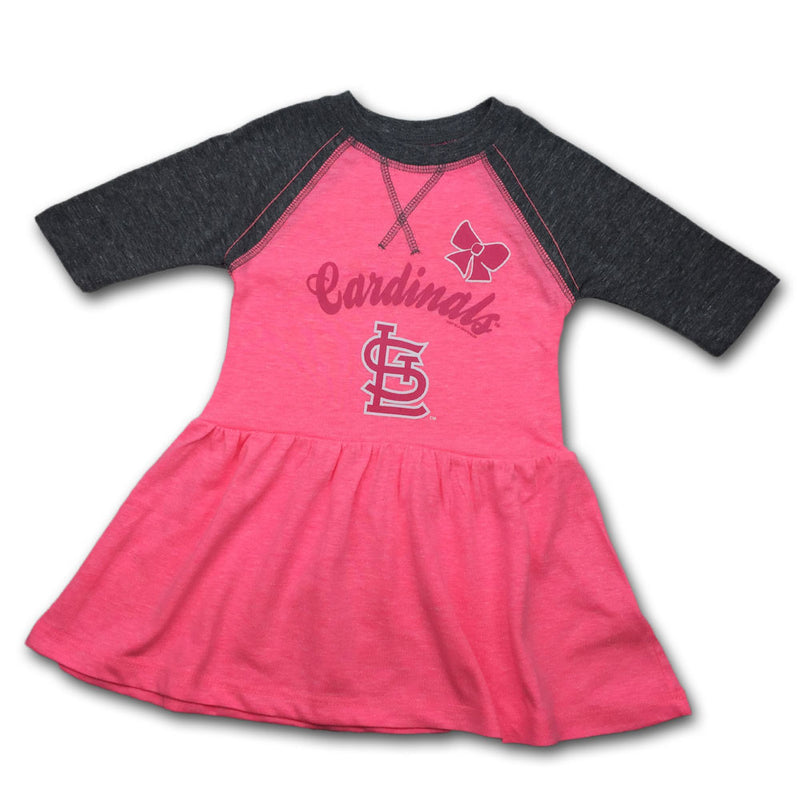 Cardinals Toddler Pink Baseball Shirt Dress