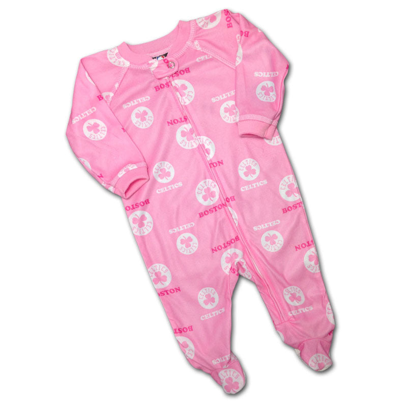 Baby Celtics Pink Logo Covered PJ's