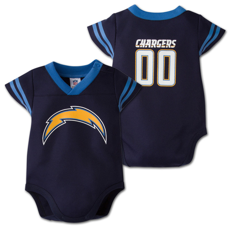 Baby Chargers Football Jersey Onesie