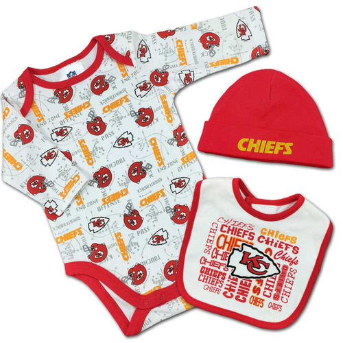 Nfl infant clothing kansas city chiefs baby apparel babyfans chiefs baby team spirit creeper bib beanie negle Choice Image