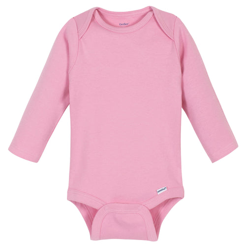 Girls Light Pink Classic Long Sleeve Onesies® Brand Bodysuit