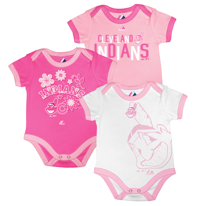 Indians Bases Loaded Pink Bodysuit Trio