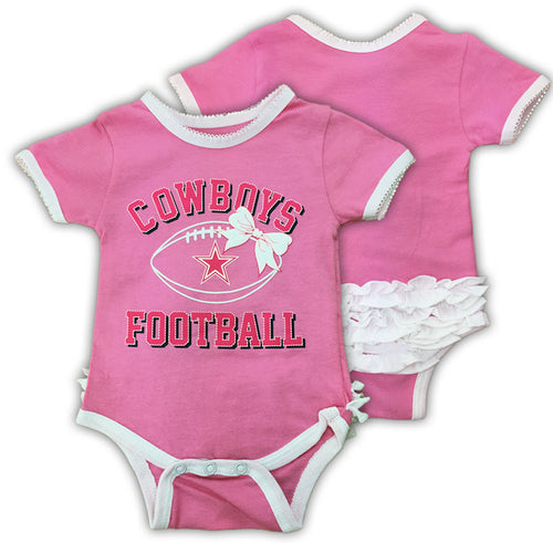 Pink Cowboys Football with a Bow Bodysuit