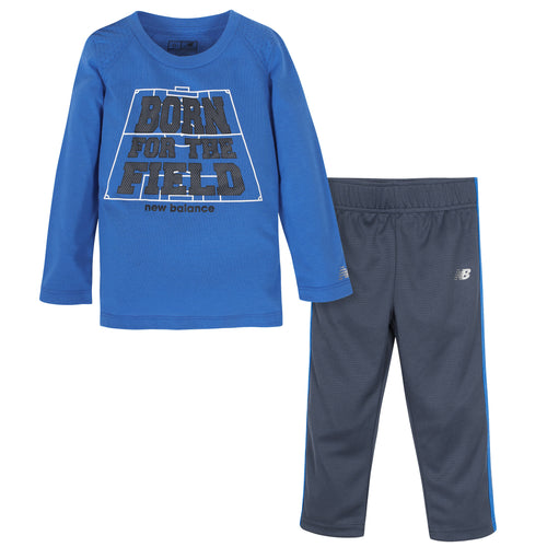 New Balance 2-Piece Boys Lapis Blue Long Sleeve Shirt and Pant Set