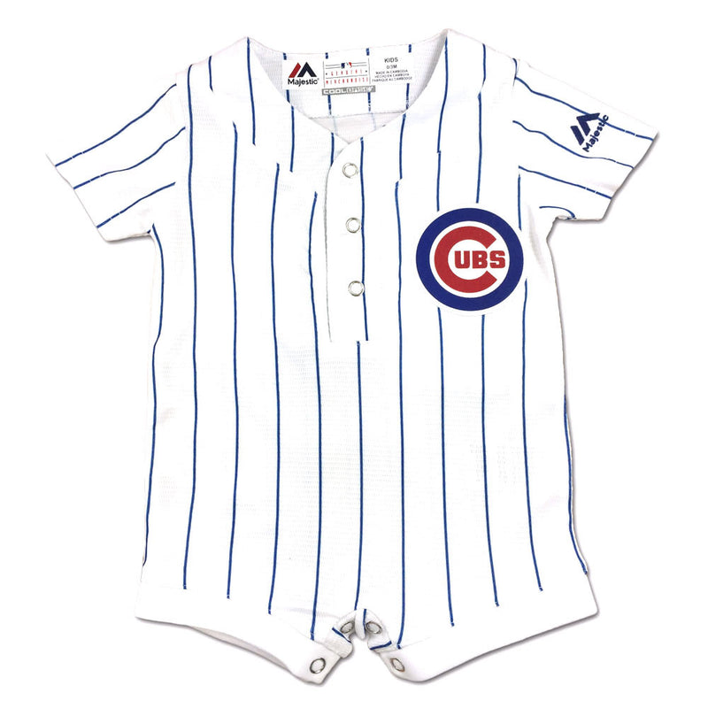 Cubs Baby Genuine Jersey Pinstripe Romper