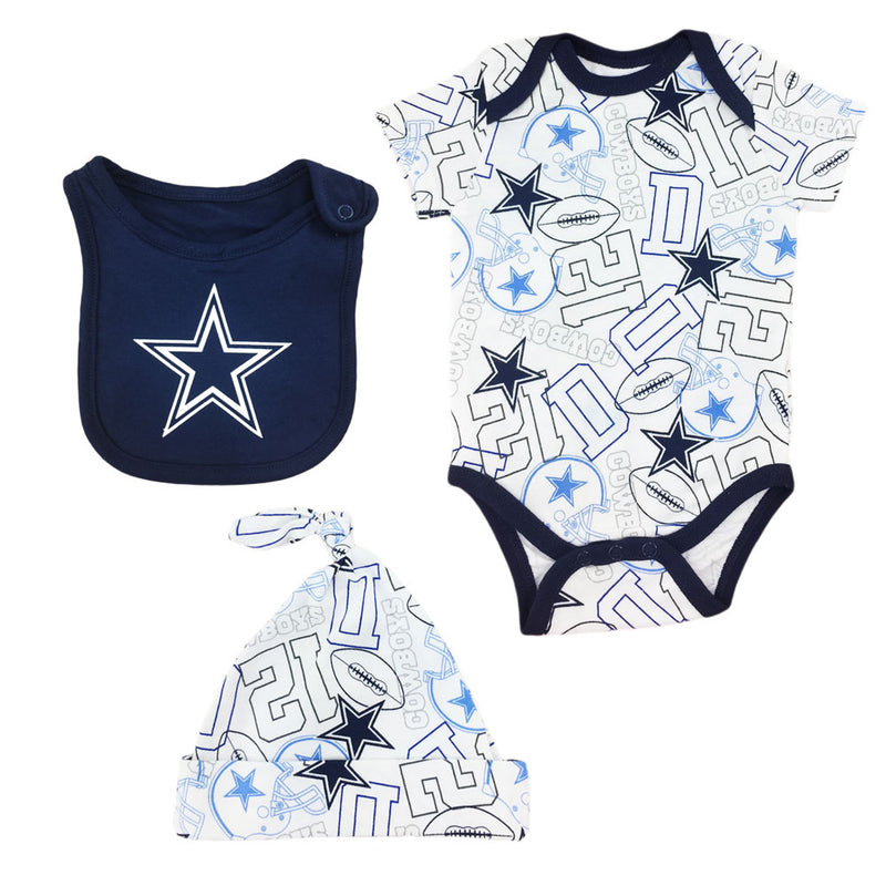 Cowboys Kiddo Bodysuit, Cap & Bib Set