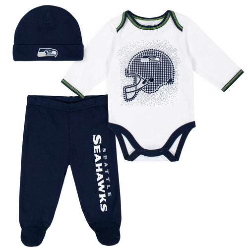 Seahawks Baby Boys 3-Piece Bodysuit, Pant, and Cap Set